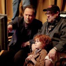 Billy Crystal sul set di Parental Guidance con il nipotino Kyle Harrison Breitkopf ed il regista Andy Fickman