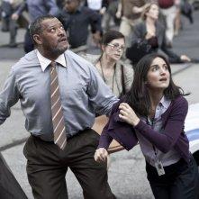 L'uomo d'acciaio: Laurence Fishburne in una scena del film con Rebecca Buller