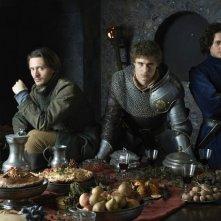 The White Queen: Max Irons, David Oakes ed Aneurin Barnard in una foto promozionale della serie