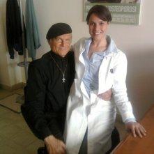 Lorenza Caroleo con Terence Hill sul set di Don Matteo