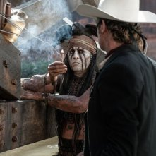 The Lone Ranger: Johnny Depp insieme a Armie Hammer in un'immagine del film