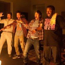 Facciamola finita: James Franco, Seth Rogen, Jay Baruchel e Craig Robinson in una scena del film