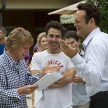 Gli stagisti: il regista Shawn Levy con Owen Wilson e Vince Vaughn si divertono sul set