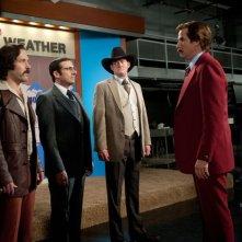 Anchorman 2 - Fotti la notizia: Paul Rudd, Steve Carell, David Koechner e Will Ferrell in una scena del film