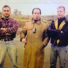 Claudio Del Falco, Tinto Brass e Roberto Trasarti  durante le riprese del film Snack Bar Budapest