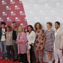 Emma Dante con il cast di Via Castellana Bandiera alla Mostra di Venezia 2013