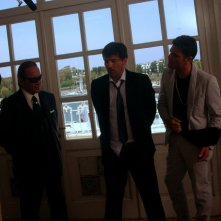 Tony Sperandeo, Lorenzo Flaherty e Salvatore Ruocco sul set de ragioniere della mafia.