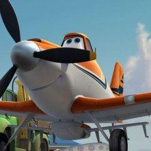Planes: Dusty, l'aeroplanino agricolo protagonista del film, in una scena