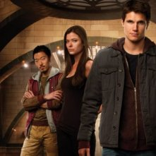 The Tomorrow People: Peyton List, Luke Mitchell, Aaron Yoo, Mathieu Young e Robbie Amell in una foto promozionale della serie