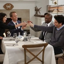 How I Met Your Mother: Wayne Brady, Josh Radnor; Neil Patrick Harris e Cobie Smulders nell'episodio Coming Back