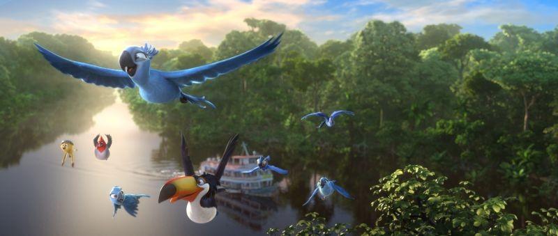 Rio 2: Blu e Jewel con i loro ragazzi e i loro amici in volo in una scena del film
