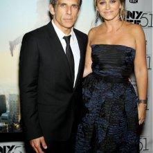 Ben Stiller con la moglie Christine Taylor alla 51ª edizione del New York Film Festival sul red carpet de I sogni segreti di Walter Mitty