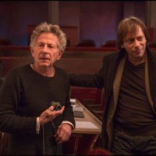Venere in pelliccia: il regista Roman Polanski sul set con Mathieu Amalric
