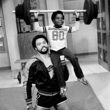 Gary Coleman sul set di Arnold con Reggie Jackson