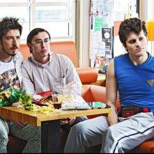 Fuga di cervelli: Paolo Ruffini con Frank Matano e Luca Peracino in una scena