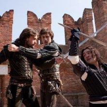 Romeo & Juliet: Douglas Booth in un'immagine dal film con Christian Cooke e Ed Westwick