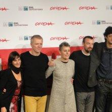 Roma 2013: Alberto Fasulo e Branko Zavrsan posano con la produttrice e lo staff al photocall del film Tir