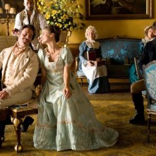 Austenland: Keri Russell con Jane Seymour, James Callis, Ricky Whittle e JJ Feild in una scena del film