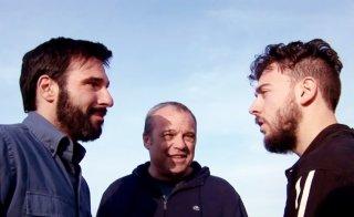 La mossa del pinguino: il regista del film Claudio Amendola sul set con Edoardo Leo