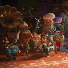Il castello magico: il gattino Tuono circondato dai suoi amici giocattoli