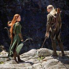 The Hobbit: la desolazione di Smaug - Evangeline Lilly e Orlando Bloom in una scena del film
