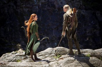 The Hobbit: la desolazione di Smaug - Evangeline Lilly e Orlando Bloom in una scena del film