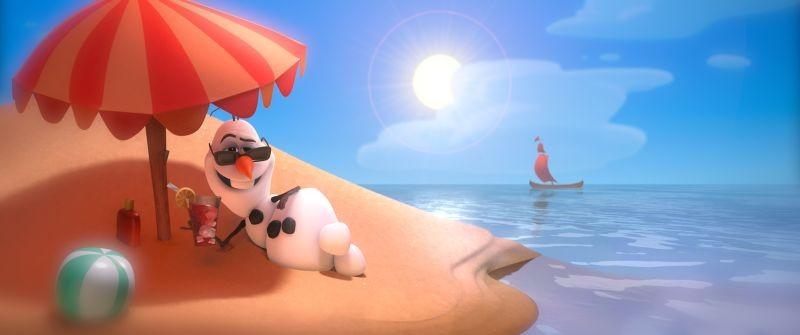 Frozen Olav Il Pupazzo Di Neve In Spiaggia In Una Bizzarra Scena 294653