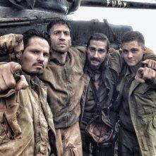 Fury: Shia LaBeouf, Jon Bernthal, Michael Pena e Logan Lerman sul set