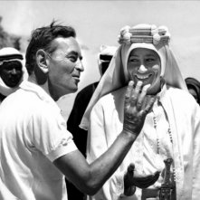 Peter O'Toole sul set di Lawrence d'Arabia (1962) con David Lean