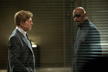 Captain America: The Winter Soldier: Robert Redford e Samuel L. Jackson in una scena del film