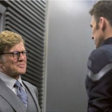 Captain America: The Winter Soldier: Robert Redford e Chris Evans in una scena del film
