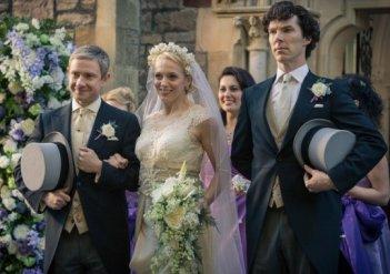 Sherlock: Martin Freeman, Amanda Abbingotn e Benedict Cumberbatch in un'immagine dell'episodio The Sign of Three