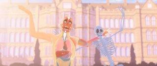 La scuola pià pazza del mondo: il Signor Nudo e Lo scheletro in una scena
