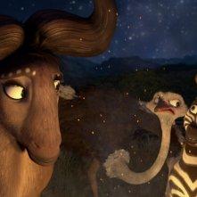 Khumba: Mama V insieme a Khumba e a Bradley lo struzzo in una scena del film