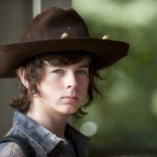 The Walking Dead: un primo piano di Chandler Riggs nell'episodio Salvare il mondo