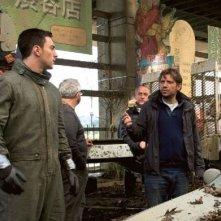 Godzilla: il regista Gareth Edwards con Aaron Taylor-Johnson
