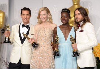Oscar 2014: Matthew McConaughey, Cate Blanchett, Lupita Nyong'o e Jared Leto con gli Oscar attoriali