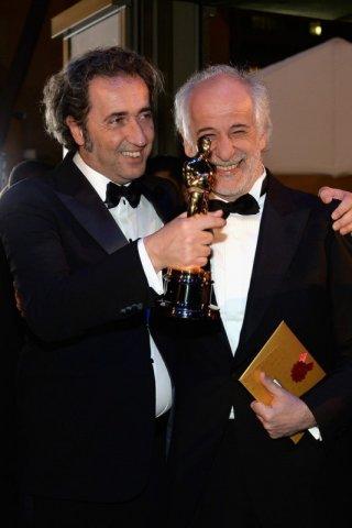 Paolo Sorrentino e Toni Servillo con l'Oscar vinto per La grande bellezza