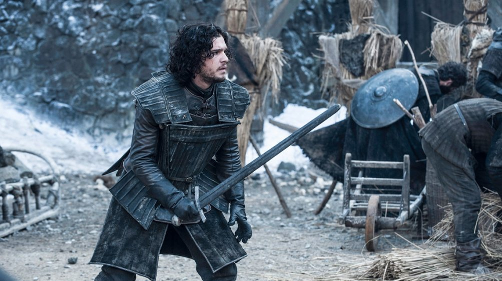 Il trono di spade: Kit Harington durante una scena della quarta stagione della serie