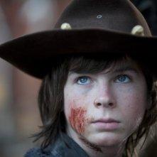 The Walking Dead: un primo piano di Chandler Riggs nell'episodio A