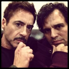 Avengers: Age of Ultron - Robert Downey Jr. e Mark Ruffalo sul set