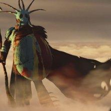 Dragon Trainer 2: Hiccup in una scena del film guarda impaurito il potente Drago