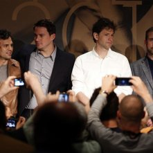 Foxcatcher: Channing Tatum, Steve Carell, Bennett Miller e Mark Ruffalo durante la conferenza stampa a Cannes 2014