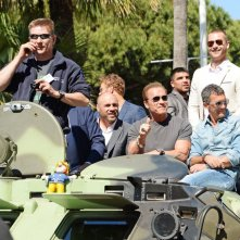 I Mercenari 3: Antonio Banderas con Arnold Schwarzenegger e Patrick Hughes durante l'evento speciale a Cannes 2014