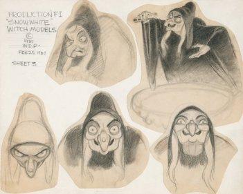 Biancaneve, i disegni preparatori sulla strega