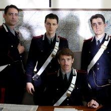 A testa alta: Andrea Bosca, Giovanni Scifoni e Giorgio Pasotti in una scena della fiction