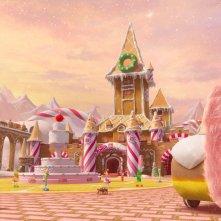Il magico mondo di Oz: la città di zucchero in una scena del film
