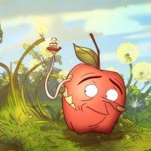 La mela e il verme: la mela Torben e il vermetto Silvia in una scena del film
