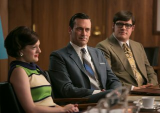Mad Men: Elisabeth Moss, Jon Hamm e Rich Sommer in una scena di Waterloo