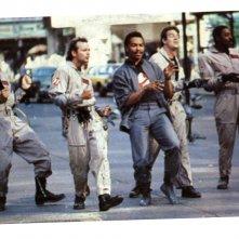 i Ghostbusters sul set del videoclip della loro canzone